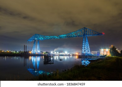 The Tees Transporter Bridge (1911), situated on the RiverTees between Middlesbrough and Port Clarence, at Nighttime