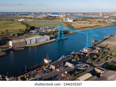 The Tees Transporter Bridge located in Middlesbrough Teesside. The bridge spans the River Tees between Stockton on tees and Middlesbrough. The bridge is over 100 years old