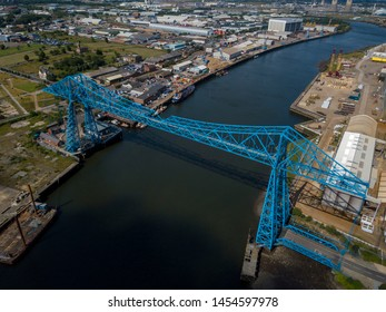 The Tees Transporter Bridge at Middlesbrough that crosses the River Tees between Stockton and Middlesbrough