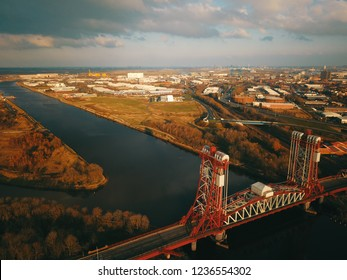 Teesside middlesbrough historic Newport Bridge from above showing the industrial heartland of the north east town of middlesbrough. A very stormy sky