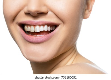 Teeth before and after care, therapy and whitening. Laughing woman mouth with great teeth over white background. Healthy beautiful female smile.
