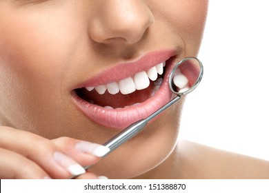 teeth dental care  - smile with dental mirror