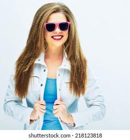 teeth smile. beautiful happy woman against white background in studio .