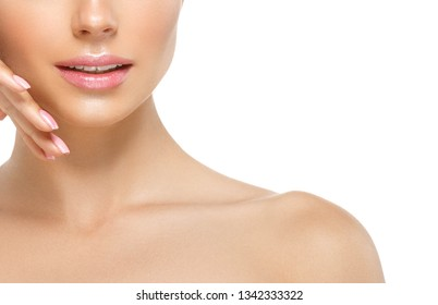 Teeth smile healthy woman face closeup macro neck chin isolated on white