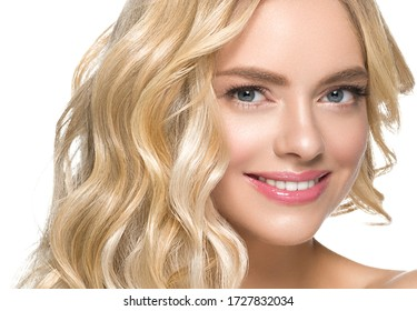 Teeth smile woman face blonde hair natural make up clean beauty healthy skin hait and teeth