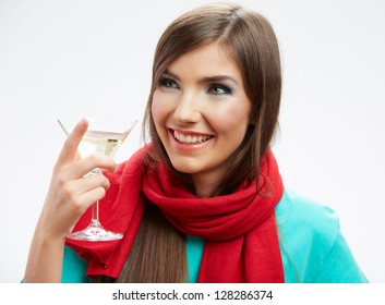 Teeth smiling woman hold wine glass. Isolated portrait .