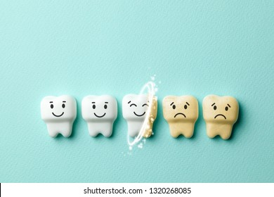 Teeth whitening. Healthy white teeth are smiling and yellow from cigarettes and sad coffee on green mint background. Copy space for text