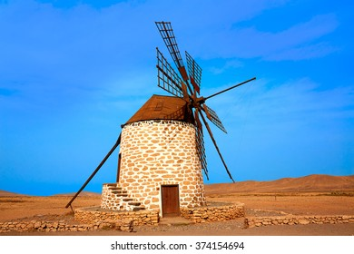 Tefia windmill Fuerteventura at Canary Islands of Spain