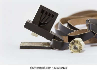 Tefillin manufacturing process. Leather