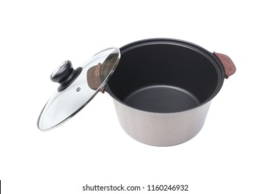 A teflon coated pot with a glass lid isolated on white background