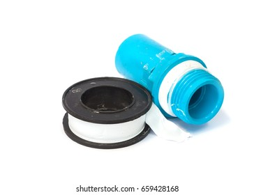 Teflon tape and pvc pipe connection isolated on white background