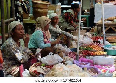 Tegalrejo, Magelang, Central Java / Indonesia - October 18 2016 :  Vegetables seller at traditional market Tegalrejo.