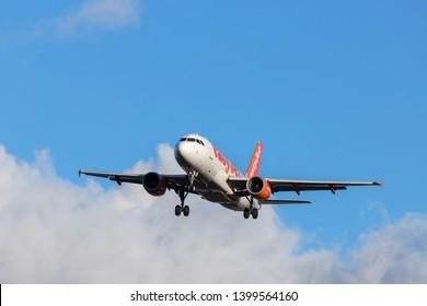 tegel, berlin/germany - 11 02 19: easyjet airplane landing at berlin tegel airport in germany