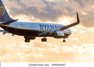 tegel, berlin/germany - 11 02 19: ryanair airlines airplane landing at berlin tegel airport in germany