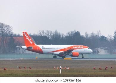 tegel, berlin/germany - 13 02 19: easyjet airplane at berlin tegel airport in germany