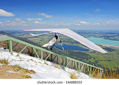 TEGELBERG, GERMANY - MAY 16: Competitor Julia Burlachenko from Ukraine of the King Ludwig Championship hang gliding competitions takes part on May 16, 2012 in Tegelberg, Germany