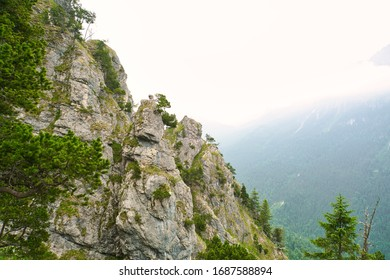 The Tegelberg. a popular hiking trail in the german alps with a great panoramic view. Aesthetic and minimalist scene.Peace and quitfull. Autumn.