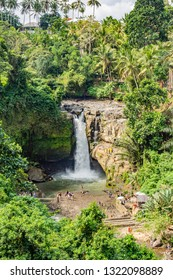 Tegenungan Waterfall. Ubud, Bali, Indonesia. Dense foliage frames the falls, and the water volume is impressive at almost any time of year.