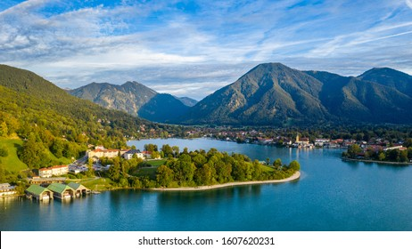 "Tegernsee, Germany. Lake Tegernsee in Rottach-Egern (Bavaria), Germany near the Austrian border. Aerial view of the lake ""Tegernsee"" in the Alps of Bavaria. Bad Wiessee. Tegernsee lake in Bavaria."