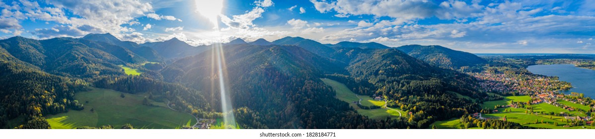 Tegernsee lake in the Bavarian Alps. Aerial Panorama Mountain View. Autumn. Germany