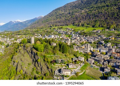 Teglio - Valtellina (IT) - Aerial view of the town