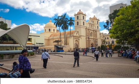 Tegucigalpa, Honduras - January 4, 2017:Cathedral of San Miguel in Tegucigalpa, capital city of Honduras. The style of architecture is Baroque.