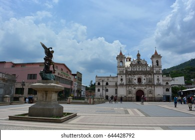 TEGUCIGALPA, HONDURAS - MAY 13TH, 2017: Square in front of the Iglesia El Calvario church in Tegucigalpa, Honduras, on May 13th, 2017
