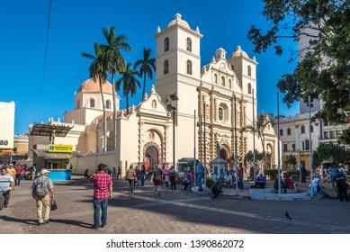 TEGUCIGALPA,HODURAS - MARCH 13,2019 - View at the Cathedral of Saint Michael Archangel in Tegucigalpa. Tegucigalpa is capital of Honduras.