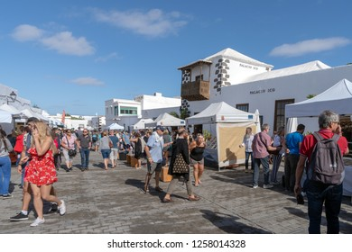Teguise, Lanzarote, Spain - October 28, 2018: Every Sunday in the squares and cobbled streets of Villa de Teguise, takes place one of the most important popular Canarian markets