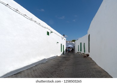 Teguise, Lanzarote, Spain - October 28, 2018: Typical street and architecture of Teguise on Lanzarote. Canary Islands
