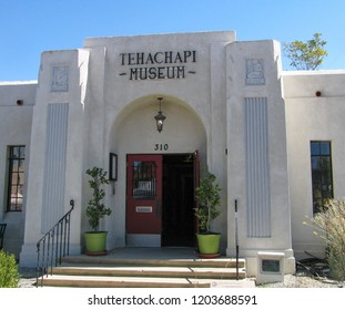 Tehachapi, California USA - October 14, 2018: Tehachapi Museum entrance shows details of its 1932 Art Deco design, originally a Kern County library, now includes exhibits about native Kawaiisu culture