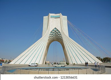 TEHERAN, IRAN - AUGUST 28: Azadi Tower 28, August, 2018 at Teheran, Iran. Azadi Tower is the symbol of freedom and a landmark of the Iranian captal city.