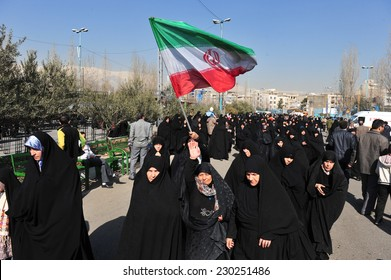 TEHERAN, IRAN - FEBRUARY 08: Iranian women gathered after friday pray on February 08, 2013 in Teheran, Iran.