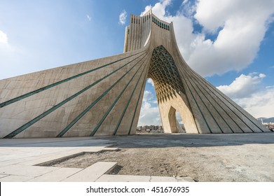 Teheran, Iran - February 2016 - Azadi Tower, one of  the most important monument in Teheran on winter. Iran, 2016