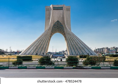 Teheran, Iran - February 2016 - Azadi Tower, one ofe the most important monument in Teheran on winter. Iran, 2016