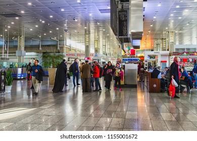 TEHERAN, IRAN - NOVEMBER 27, 2016: Inside the main terminal of Imam Khomeini International Airport, Teheran, Iran