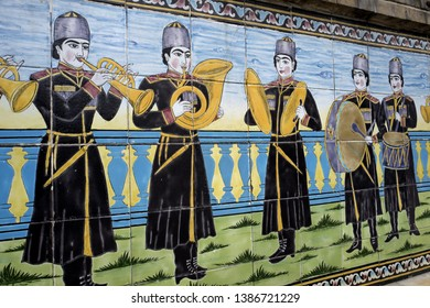 TEHERAN, IRAN-MARCH 20, 2019: external wall decorations of the Golestan Palace, ancient residence of the royal Qajar dynasty, today Unesco world heritage site, in Teheran