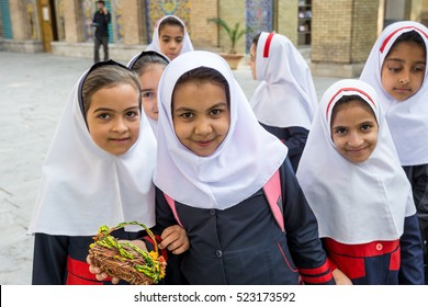 Tehran City, Iran- November 9th, 2016: Editorial: A group of Iran primary students wearing white Hijab at Golestan Palace
