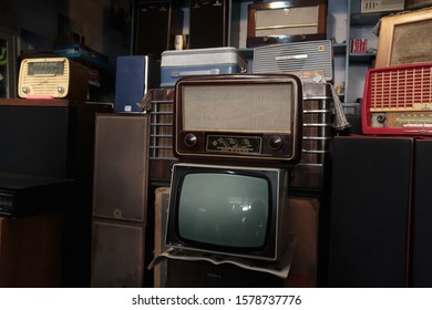 Tehran/ Iran - 10 11 2014: Old-timer TV and radios in a commission shop.
