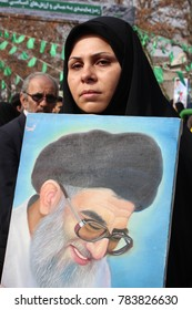 Tehran, Iran, 10.02.2017, pro-government demonstrator