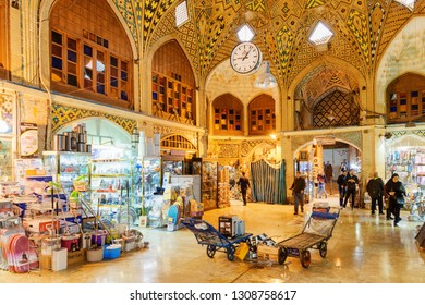 Tehran, Iran - 20 October, 2018: Wonderful Persian architecture of the Grand Bazaar. Ceiling decorated with mosaic. The old historical market is a popular tourist attraction of the Middle East.