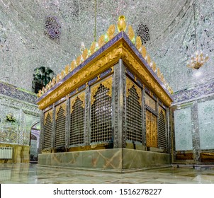 Tehran, Iran - 2019-04-04 - Mirrored tomb at Mosque and Mausoleum of Imam Zadeh Zayid.