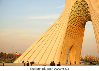 TEHRAN, IRAN - 29 January 2018. The Azadi Tower formerly known as the Shahyad Tower is a landmark monument located at Azadi Square, in Tehran, Iran.