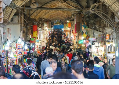TEHRAN, IRAN - 29 January 2018. The Grand Bazaar is an old historical bazaar in Tehran still used today as a centre of economic activity.
