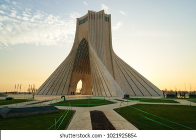 TEHRAN, IRAN - 29 January 2018. The Azadi Tower formerly known as the Shahyad Tower is a monument located at Azadi Square and is a landmark of Tehran.