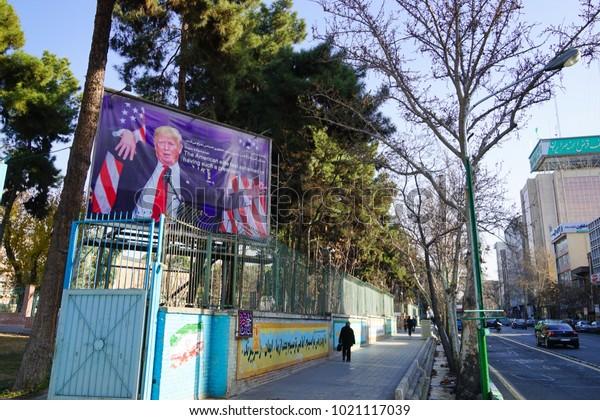 TEHRAN, IRAN - 29 January 2018. Propaganda Poster outside the former US embassy of Tehran featuring Donald Trump
