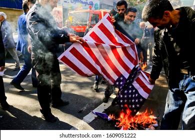 Tehran, Iran - 4 November 2018: Anti-USA protests in Iran