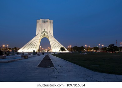 TEHRAN, IRAN - 7 May  2018 Azadi Tower at dusk time formerly known as the Shahyad Tower is a monument located at Azadi square and is an architectural landmark of Tehran