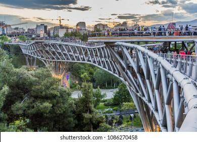 TEHRAN, IRAN - APRIL 14, 2018: View of Tabiat pedestrian bridge in Tehran.