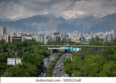 Tehran, Iran, april 2018: Tehran skyline view with Alborz Mountains on background